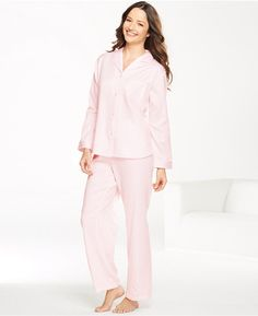 Miss Elaine Petite Brushed Back Satin Top and Pajama Pants Set on shopstyle.co.uk