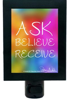 Ask, Believe, Receive: Inspirational Quote Night Light | Robyn Nola Inspirational Gifts, Positive Affirmation Gifts, Inspirational Quotes, Color Therapy Gifts