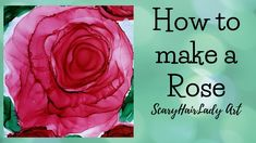 How to make a Rose in Alcohol Ink. Quick and Fun. Supplies below Kirland Photo paper Ranger Ink Revlon Dryer Ranger Alcohol Lift Ink Pad - www. Alcohol Ink Tiles, Alcohol Ink Glass, Alcohol Ink Crafts, Alcohol Ink Painting, Marker Crafts, How To Make Rose, Rose Tutorial, Rose Art, Art