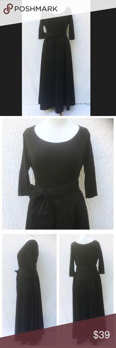 "New Eshakti Black Fit & Flare Maxi Dress 18W New Eshakti mixed media fit & flare maxi dress 18W Measured flat: Underarm to underarm: 43"" Waist: 37"" Length: 61"" Sleeve: 18"" Eshakti size guide for 18W bust: 43"" Cotton/spandex, woven jersey knit bodice, medium stretch, w/ scoop neck & back hidden zipper. Banded waist, flared maxi skirt w/ side seam pockets. Removable sash tie belt. Lined in polytaffeta. Skirt: Cotton, woven poplin, no stretch. New w/ cut out Eshakti label. Price firm eshakti…"
