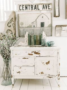 How to get a chippy dresser the EASY way! A great pin for how to paint furniture for a farmhouse look !: