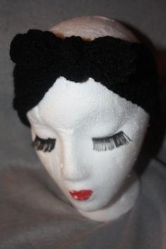 Black Top Knot Women's Crochet Ear Warmer by SisterHippies on Etsy