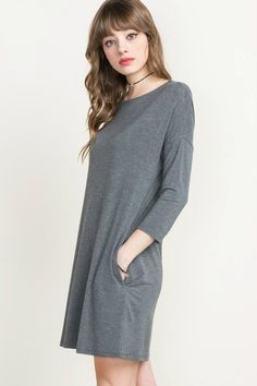 This uber-soft bamboo tunic dress is amazing! Hypoallergenic, thermo-regulating, moisture-wicking, and UV-protective! 3/4 dolman sleeves with two front pockets. Model is wearing a small. If you are lo