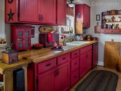 Cool rustic cabinets for an antique kitchen Kitchen Decor, Rustic Kitchen Cabinets, Kitchen Technology, Kitchen, Red Kitchen Cabinets, Kitchen Design, Red Country Kitchens, Rustic Kitchen, Primitive Kitchen