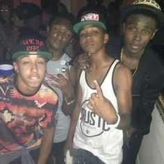 At kyle massey's party. Aka cory from raven or cory in the house. The face everybody is makin is ugly. Except myles..