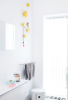 Muuto / The Dots in yellow / Bathroom Yellow Bathroom Decor, Yellow Bathrooms, White Bathroom, Small Bathroom, Bathroom Ideas, Muuto, Old Bathrooms, Bathroom Windows, Traditional Bathroom