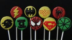 how to make oreo cookies pops and decorate them as justice league and sp...