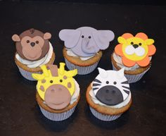 Jungle Animal Fondant Cupcake Toppers - 10 by PeaceLoveandCakeNY on Etsy https://www.etsy.com/listing/221845125/jungle-animal-fondant-cupcake-toppers-10