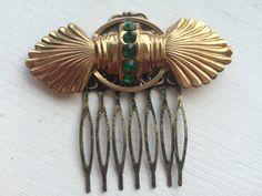 Vintage Art Deco Green Rhinestone Hair Comb | eBay
