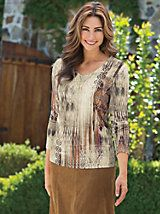 Women's Aztec Earth V-Neck Top | Norm Thompson