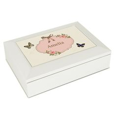 Delicate Butterfly White Jewellery Box Gift