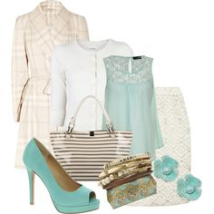 Mint to Be by stylesbyjoey on Polyvore featuring moda, Nili Lotan, Miso, Burberry, Dolce&Gabbana, ASOS, Aubrey, lace tops, lace skirts and peep toe shoes