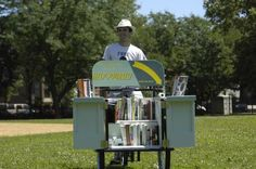 Book Bike  --  Gabe Levinson and his Book Bike have been making headlines since 2008 with a simple mission: free books. For the past three summers, Levinson has loaded up his custom-built tricycle with 200 lbs. of new donated books to give away in the parks. This was questioned last week, when a permitting kerfuffle with the Chicago Park District was resolved amicably by the Chicago Public Library's continued public support of the Book Bike.  -  By Robert Duffer - Special to the Tribune