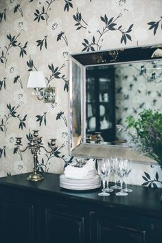 Floral wallpapered dining room: http://www.stylemepretty.com/vault/image/2221149