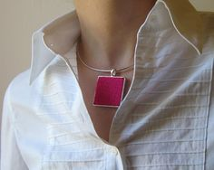square necklace magenta on silvered base  knitted with by branda, $32.50