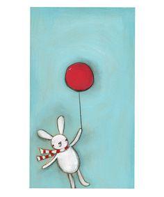 Bunny Rabbit Little Red Balloon Print