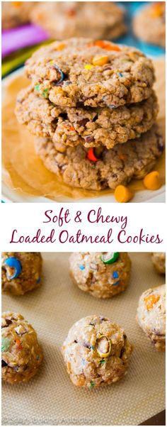 So Delicious! Soft-baked, ultra chewy, and simple oatmeal cookie recipe loaded with your favorites! Less than an hour start-to-finish! Oatmeal Cookie Recipes, Oatmeal Cookies, Cookie Desserts, Just Desserts, Delicious Desserts, Dessert Recipes, Yummy Food, Yummy Yummy, Yummy Cookies
