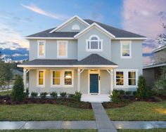 Traditional Soft Blue Home With A Classic Dark Blue Door Get The Look With