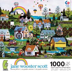 Jane Wooster Scott artist series. Wooster Scott captures turn of the century America in small town settings, depicting scenes of our national heritage, customs and holidays in her folk art painting. Celebrated and collected, her artwork makes for colorful, interesting puzzles to piece together. Each puzzle in this series is 1000 pieces and measures 27