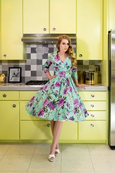 Pinup Couture Birdie Dress in Mint and Gray Floral