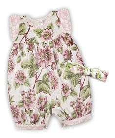 Look at this English Garden Bubble Romper & Vintage Rose Headband - Infant on #zulily today!