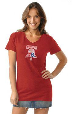 Philadelphia 76ers Women's Hardwood Classics Tri Blend V Neck T-Shirt- by Alyssa Milano