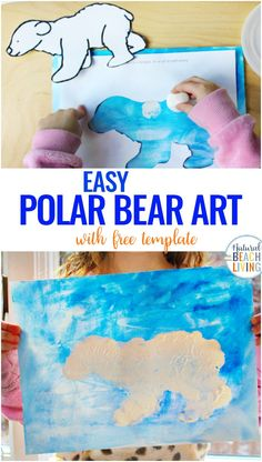 This Polar Bear Art for Preschoolers is an easy activity to add to your winter animal theme. Polar Bear Craft for Preschoolers and Arctic Activities for Preschoolers all in 1 place. You'll also get a free Polar Bear Template and… Continue Reading → Bears Preschool, Preschool Art, Polar Animals Preschool Crafts, Winter Preschool Activities, Polar Bear Crafts, Craft Activities For Toddlers, Preschool Themes, Camping Activities, Art Activities