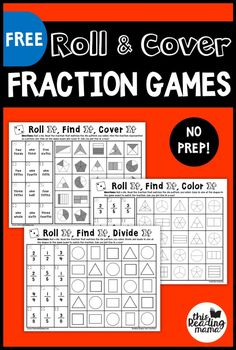 Math games 356699232987023025 - No Prep Fraction Games – Roll and Cover – This Reading Mama Source by 3rd Grade Fractions, Teaching Fractions, Fourth Grade Math, Second Grade Math, Math Fractions, Teaching Math, Math Math, Equivalent Fractions, 2nd Grade Math Games