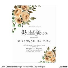 Latte Cream Ivory Beige Floral Bridal Shower Postcard
