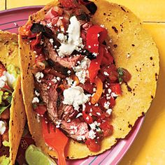 Steak Tacos with Lime Mayo   MyRecipes.com  All I can say about this is OMG these are simply delicious!   Ok changes... We used flour tortillas, we used skirt steak and not flank steak, we added chopped black olives. Other than that this is perfect!