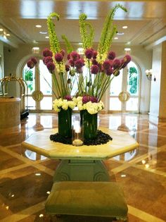 Breathtaking Floral Arrangements in the Lobby at Four Seasons Resort in Palm Beach, FL.