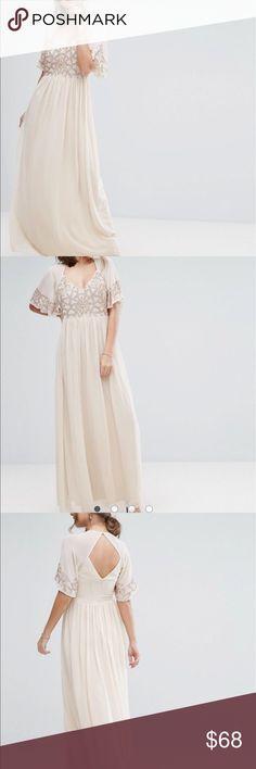 Asos Boohoo Embellished Angel Sleeve Maxi Dress NWT beautiful blush dress. Size US 8. Sold out online ASOS Dresses Maxi