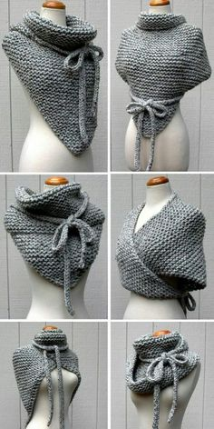 Knitting instructions for Easy Garter Stitch Wrap - Versatile scarf with . - Knitting ideas Knitting pattern for Easy Garter Stitch Wrap - Versatile shawl knit with garter stitch and I-cord ties can be worn in di. Crochet Diy, Unique Crochet, Crochet Shawl, Crochet Ideas, Crochet Scarves, Crochet Wraps, Popular Crochet, Knitting Scarves, Knitted Poncho