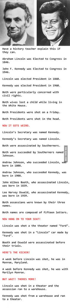 you think, are coincidences merely coincidences? Are these for real or just. Makes you think, are coincidences merely coincidences?Are these for real or just. Makes you think, are coincidences merely coincidences? Lincoln Kennedy, John F Kennedy, Jfk And Abraham Lincoln, Lincoln President, President Facts, Jfk Kennedy, Vice President, The Meta Picture, History Teachers