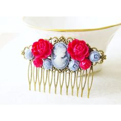 Blue Cameo Hair Comb Victorian Rose Cameo Hair Clip Red Rose Hair... ($35) ❤ liked on Polyvore featuring accessories, hair accessories, black, blue flower hair clip, bridal hair combs, rose hair clip, flower hair comb and hair comb accessories