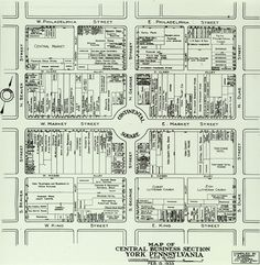 This is an rare map of York, Pa.'s  Continental Square in 1933, as drawn up by the engineering firm of C.S. Davidson.