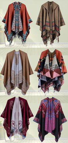 Elegant Print Irregular Tassel Shawl Cardigans for Women. Beautiful Outfits, Cool Outfits, Armor Clothing, Schneider, Looks Vintage, Historical Clothing, Cardigans For Women, Mantel, Fashion Dresses