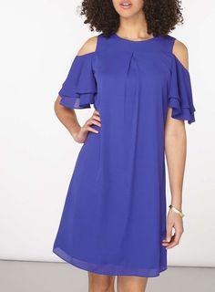 Womens **Tall Purple Ruffle Shift Dress- Purple