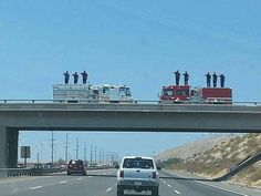 The ashes of Sean Misner, one of the 19 firefighters who died last week in Arizona, were being transported by his wife back to their hometown on Tuesday. She was in his truck and is pregnant with their unborn child. On every overpass for nearly 500 miles there was a tribute similar to this. Pretty damn remarkable and worthy of more media coverage than most of the other stuff that has been on tv lately.