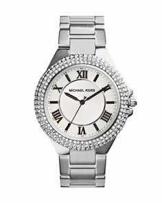 Silver Color Stainless Steel Camille Three-Hand Glitz Watch by Michael Kors at Neiman Marcus.