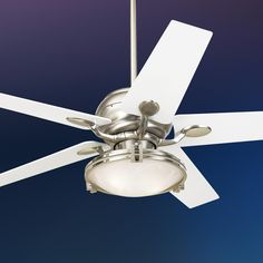 "Bedroom 52"" Casa Optima Brushed Steel White Blades Ceiling Fan -"