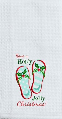 "Holly Jolly Christmas Flip Flops Embroidered 100% Cotton Waffle Dish Towel / Tea Towel, 18"""" x 28"""""