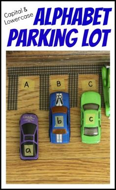 Alphabet Parking Lot:  Matching Capital and Lowercase Letters using toy cars! Could use for other thinhs, too. Math facts,  states and capitals, etc...