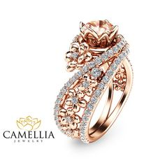 Rose Gold Morganite Engagement Ring Unique Morganite Engagement Ring Rose Gold Flower Bridal Ring from camellia jewelry. Wedding Rings Rose Gold, Bridal Rings, White Gold Rings, Gold Wedding, Unique Rings, Beautiful Rings, Bijoux Or Rose, Ring Verlobung, Schmuck Design