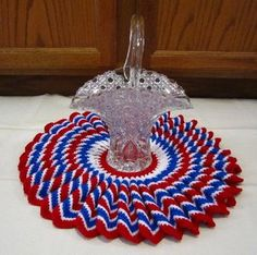 Image detail for -USA Patriotic Doily 4th of July Holiday Decor Handmade Crocheted Craft ...