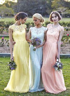 Bridesmaid Dresses - $135.00 - A-Line/Princess Scoop Neck Floor-Length Chiffon Bridesmaid Dress With Lace (0075059180)