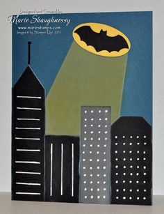 Holy Smokes, Batman! It's the Bat-Signal! Punch Art Card by MarieStamps.com featuring Stampin' Up! punches
