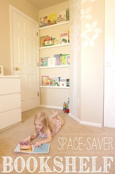 This DIY space-saver bookshelf capitalizes on the unused space behind a door. A clever, affordable and beautiful DIY solution for small spaces. - for small bedroom Kids Room Bookshelves, Bookshelf Diy, Small Bookcase, Bookshelves For Small Spaces, Nursery Bookshelf, Bookshelf Design, Casa Kids, Small Spaces, Little Boys Rooms