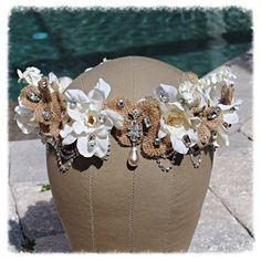 Burlap and Ivory Floral Flower Rhinestone by glamourpusscouture, $65.00