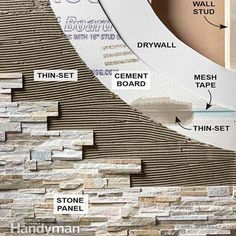 Create a Faux Stone Accent Wall is part of Home Accents DIY Stone Walls - Cover a wall with stone veneer and transform a room! Faux Stone Walls, Stone Accent Walls, Tile Accent Wall, Bathroom Accent Wall, Stone Interior, Interior Walls, Bathroom Interior, Faux Murs, Stone Bathtub